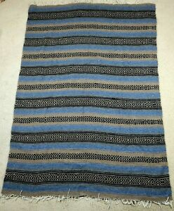"""Mexican Falsa Blanket Hand Woven Mat Bed Blanket Drk Blue & Brown 75"""" L x 53"""" W"""