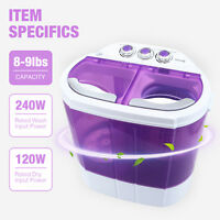 Mini Portable 9lbs Washing Machine Compact Washer Spin Dryer RV Dorm Laundry