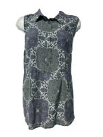 Equipment Womens Hera Blouse Gray Blue Paisley 100% Silk Sleeveless Button L New