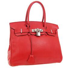 HERMES BIRKIN 30 Hand Bag □M 54 E Purse Red Veau Swift Vintage France RK14223