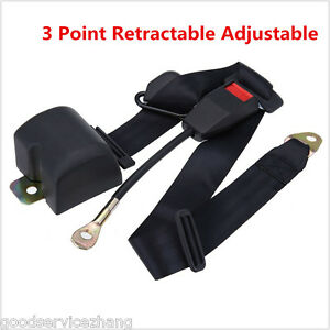 3 Point Retractable Adjustable Auto Car Universal Seat Lap Belt With 3 Bolt