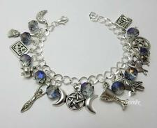 Spiritual Moon Goddess Charm Bracelet with mystic crystals pagan wicca jewellery