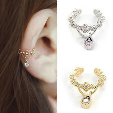 New Women Ear Cuff Wrap Rhinestone Crystal Clip On Earring Non Piercing Earrings