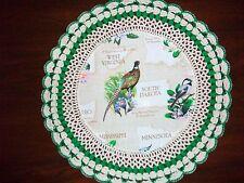 New Handmade Round Crochet Doily--South Dakota/Ring-Necked Pheasant&Pasqueflower