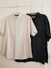 Lot of 2 Perry Ellis Men's Casual Button Front Shirts Short Sleeves in size L/Xl