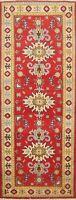 Geometric Red/Ivory 6 ft Kazak Pakistan Hand-Knotted Wool Runner Rug 2x6 ft.