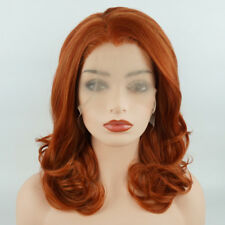 Meiyite Hair Wavy Shoulder Length 16inch Blonde Red Mix Synthetic Lace Front Wig
