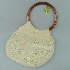 Vintage Goldco Handbag Purse Boho Cream Knit With Round Plastic Handles NOS