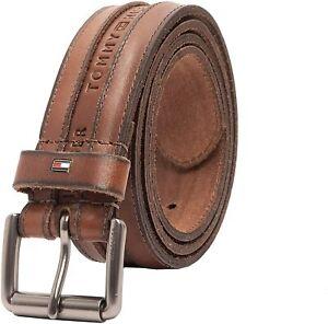 Tommy Hilfiger Men's 38MM Leather Belt with Logo Embossed Tan