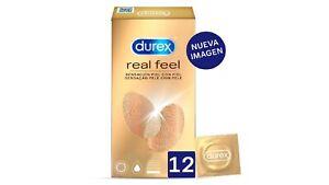 12 x Preservativos Durex Real Feel Alérgicos Al Látex Condones Relaciones Sexo