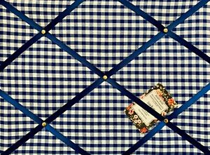 SALE Royal Blue Gingham Check Handcrafted Fabric Notice Pin Memo Board 40x30cm