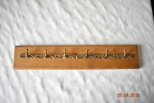 DECORATIVE BRASS KEY HOOKS MOUNTED ON OAK 6 HOOKS 45cm WIDE