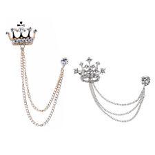Pin Tassel Chain Suit Wedding Party 2pcs Crown Rhinestone Lapel Stick Brooch
