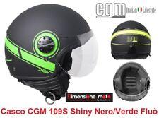 Casco D/JET Visiera Sagomata CGM 109S Shiny Nero Opaco/Verde Fluò Taglia XL 59cm