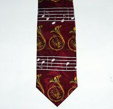 FRENCH HORN BAND Wind Instrument MUSICAL NOTES G CLEF Mens DRESS NECKTIE TIE New