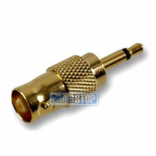 GOLD BNC FEMALE SOCKET TO 3.5mm MONO JACK CCTV VIDEO CAMERA CABLE AUDIO ADAPTER