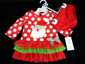 Cutie pie Christmas Santa outfit 2 pcs set dress & shorts Baby Girl Red White