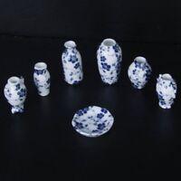 7pcs Vase de Porcelaine de Chine Ceramique Miniature pour 1/12 Maison de Po E4O8