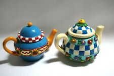 2-Mary Engelbreit Vintage Multi-Color Miniature Teapots Tealight ,Trinket Bowls