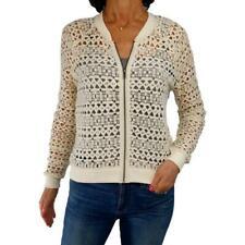 JACK BB DAKOTA S Small ivory crochet lace sheer bomber jacket topper l/s fall