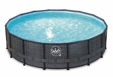 SWING ELITE Metal Frame Pool 549 x 132cm Swimmingpool 5,49 x 1,32m Rattan Design