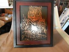 Framed Drawing Tiger with Baby Tigers Hand Drawn Copper on Black