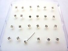 24-Sterling-Silver-Clear-Round-Claw-Set- Crystal-Nose-Studs- Piercing - Boxed