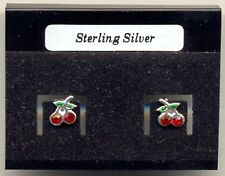 Cherry Red Crystal Sterling Silver 925 Studs Earrings Carded