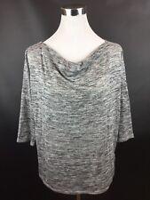 Dana Buchman Metallic Gray Cowl Neck 3/4 Sleeve Knit Top Blouse Shirt Size S