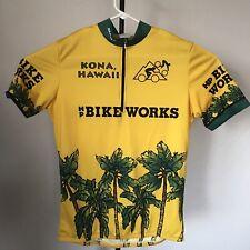 VTG Sugoi Medium Bike Works Kona Hawaii Yellow Green Palm Trees Cycling Jersey