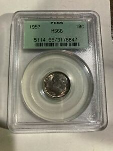 1957 Roosevelt Dime PCGS MS-66 Old Green Holder (OGH), Nice Color
