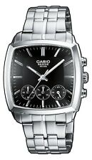 Casio Beside BEM505D-1A Mens Black Dial Stainless Steel 3 Dial Dress Watch