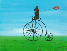 PRINT OF PAINTING RYTA SCOTTISH TERRIER FOLK ART ACEO ANTIQUE STYLE BICYCLE DOG