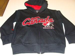 2011-12 Team Canada Age 6X Full Zip My Team Hoodie Hooded Black Sweatshirt Kids