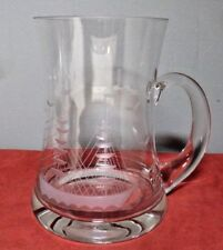 CRYSTAL GLASS TANKARD/MUG  with Etched CLIPPER SHIP Design