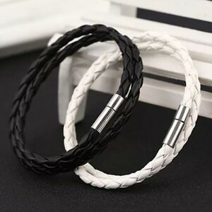 USA Stainless steel Gift Mens Leather Silver 8in Cuban Link Bracelet 6-8 MM