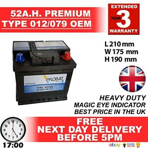 012 079 Battery 52ah Fully Charged SEAT SKODA SMART MINI VAUX FITS MANY MORE £££