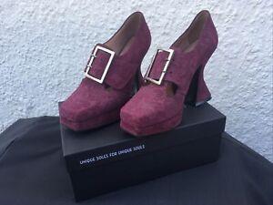 John Fluevog Munster Shoes Burgundy Suede US9