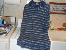 Ashworth Weather Systems Blue & Gray Striped Polo Style Short Sleeve Golf Shirt