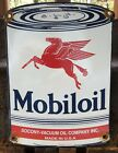 VINTAGE+MOBILOIL+MOTOR+OIL+CAN+PORCELAIN+GAS+STATION+MOBIL+MOBILGAS+SIGN