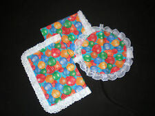 Handmade Birthday Balloons Table Runner & Doily Set - 3 pieces