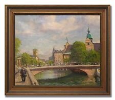 EXCELLENT OIL ON CANVAS SHOWING A VIEW OVER COPENHAGEN - 1950´s art oil painting