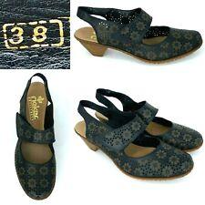 Rieker Antistress Mirjam Size 38 US 7 - 7.5 Mary Jane Black Perforated Leather