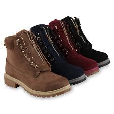 Damen Worker Boots Warm Gefütterte Outdoor Stiefelette Profilsohle 818768 Schuhe