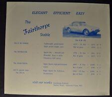 1963-1964 Fairthorpe Brochure Sheet EM Three Rockette Electron Zeta Original
