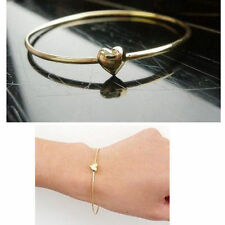 Gold Heart Dipped Bangle Bracelet Delicate Love Gift
