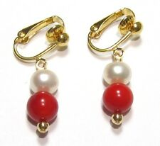 Genuine White Pearl & Red Coral 18K YGP Clip On Earrings