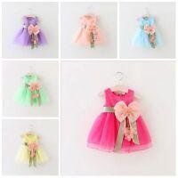 Toddler Infant Kids Baby Girls Summer Dress Princess Party Wedding Bow Dresses