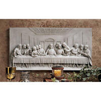 "The Last Supper 12"" Design Toscano Wall Frieze Finished In Patina Of Aged Stone"