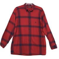 Nautica Flannel Shirt Mens Size Large Red Plaid Long Sleeve Button Front